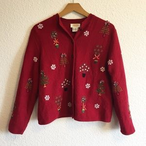 Vintage Talbots Ugly Christmas Sweater Embroidered